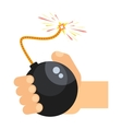 bomb in hand vector image vector image