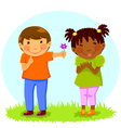 boy gives flower to girl vector image vector image