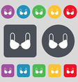 brassiere top icon sign A set of 12 colored vector image vector image