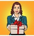 Business woman with gift box vector image vector image