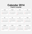 Calendar 2014 English Type 11 vector image vector image