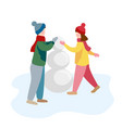 children make snowman in the park flat vector image