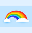 colorful rainbow with clouds background vector image vector image