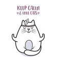 cute cat at yoga pose for greeting card design vector image vector image