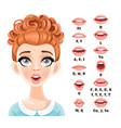 cute red haired woman talking mouth animation vector image