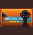 dark silhouette a woman in hat on balcony vector image
