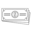 dollar cash icon outline style vector image vector image