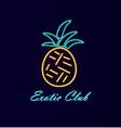 elite club neon pineapple vector image