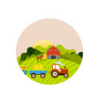 farm and farmland village with gardens greenery vector image