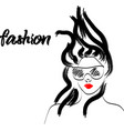 fast fashion sketch with girl in glasses red lips vector image vector image