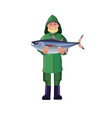 fisherman holding fish vector image