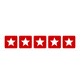 five stars customer product rating review red icon vector image vector image