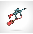 Flat color icon for paintball gun vector image vector image