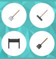 flat icon dacha set of barbecue harrow shovel vector image