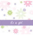 Floral pattern and Baby girl arrival card vector image vector image