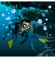 frightened diver under water vector image vector image