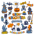 happy halloween icons set with various elements vector image vector image