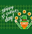 happy leprechaun golden coins lucky happy st vector image
