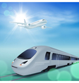 High-speed train and airplane in the sky vector image vector image