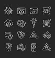 internet security system chalk white icons set vector image
