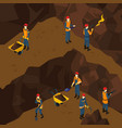 isometric working miner people concept vector image vector image