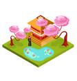 japan isometric composition background vector image vector image