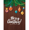 Merry Christmas Happy New Year Tree Decorated vector image vector image