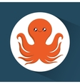 Octopus cartoon over circle icon graphic vector image vector image