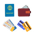 passport and globe sign set vector image vector image