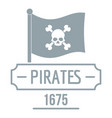 pirate flag logo simple gray style vector image vector image
