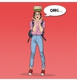 Pop Art Woman Student with Books on her Head vector image vector image