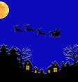 santa fly moon vector image vector image