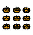 set of black silhouette pumpkins vector image vector image