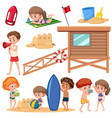 set of children at the beach vector image vector image