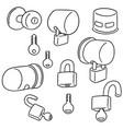 set of door knob lock cover vector image