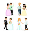 set of happy cute wedding vector image vector image