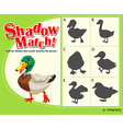 Shadow matching game with duck vector image vector image