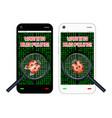 smartphone found a bug vector image vector image