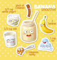 smoothie recipe with funny characters vector image