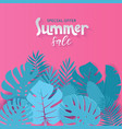 square summer sale banner design with paper cut vector image