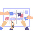 task board concept with hands vector image vector image