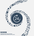 TIME 24 Icon in the center Around the many vector image