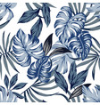 tropical blue leaves seamless background vector image vector image