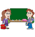 two pupils with blackboard vector image