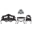 Vintage Baroque sofa and armchairs set vector image vector image
