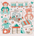 vintage children toys set vector image