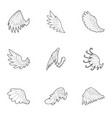 wings of angel icons set outline style vector image