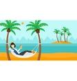 Woman chilling in hammock vector image vector image