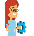 woman with gear vector image