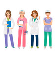 young female doctor and nurse characters vector image vector image